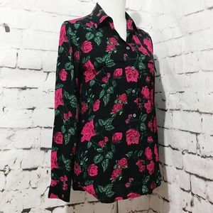 Equipment Femme Black Blouse Floral Rose design